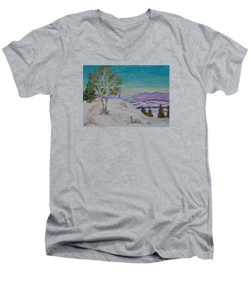 Winter Mountains With Hare Men's V-Neck T-Shirt