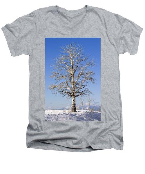 Winter Men's V-Neck T-Shirt by Muhie Kanawati