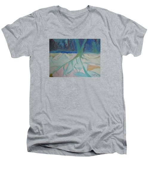 Men's V-Neck T-Shirt featuring the painting Winter Night Shadows by Francine Frank