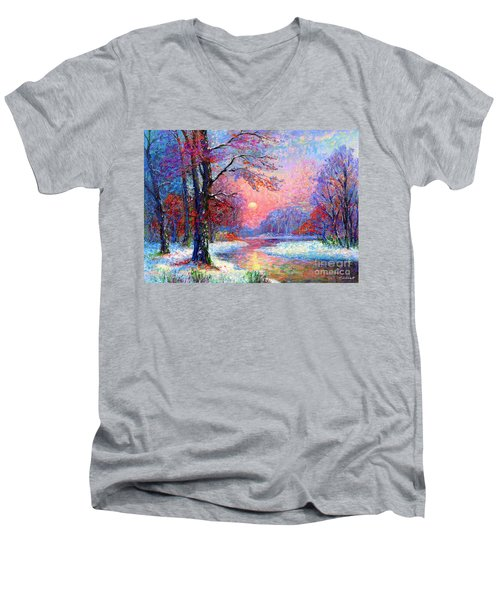 Winter Nightfall, Snow Scene  Men's V-Neck T-Shirt