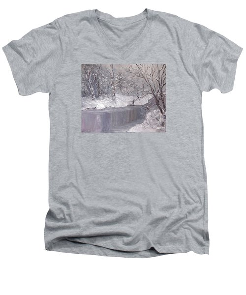 Men's V-Neck T-Shirt featuring the painting Winter by Nina Mitkova