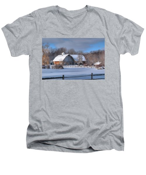 Men's V-Neck T-Shirt featuring the photograph Winter On The Farm 14586 by Guy Whiteley