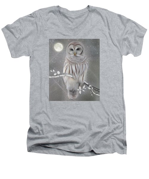Men's V-Neck T-Shirt featuring the digital art Winter Owl by Nina Bradica