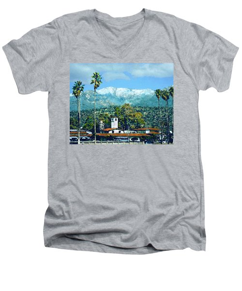Winter Paradise Santa Barbara Men's V-Neck T-Shirt