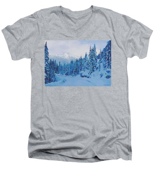Winter Road Men's V-Neck T-Shirt by Sophia Schmierer