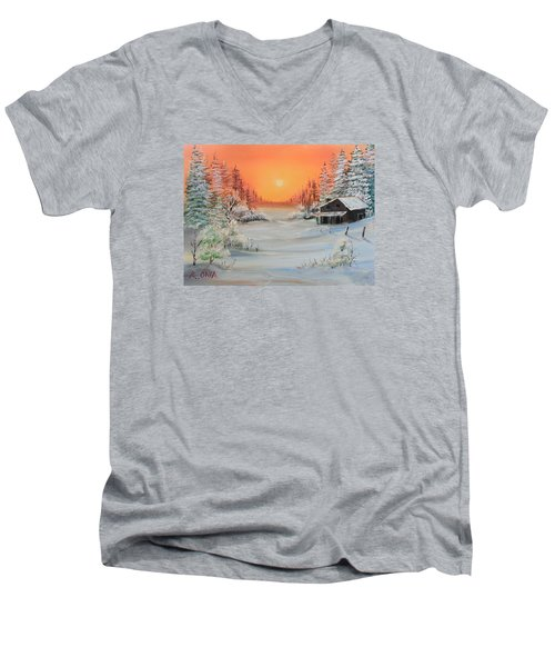 Winter Scene Men's V-Neck T-Shirt by Remegio Onia