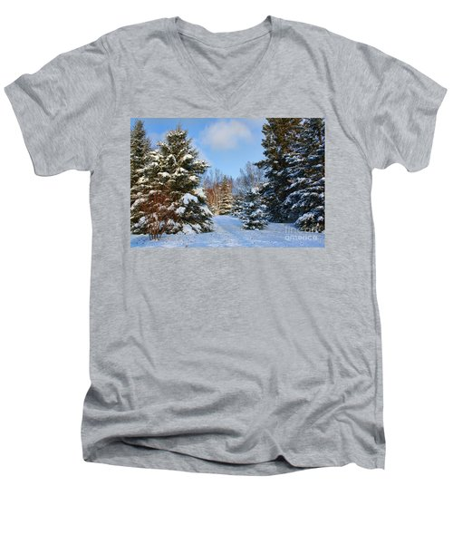 Men's V-Neck T-Shirt featuring the photograph Winter Scenery by Teresa Zieba