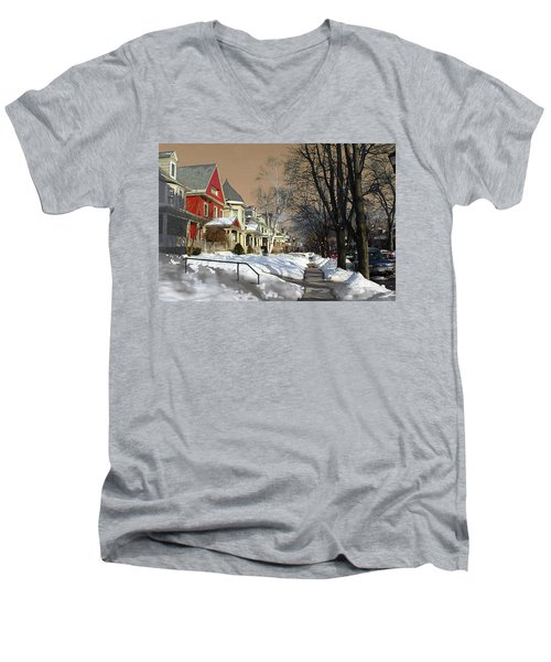 Men's V-Neck T-Shirt featuring the pyrography Winter Scenery  by Viola El