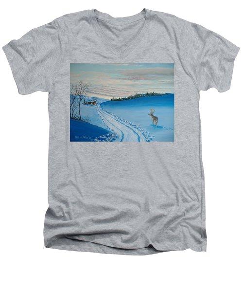 Winter Sentinel Men's V-Neck T-Shirt by Norm Starks