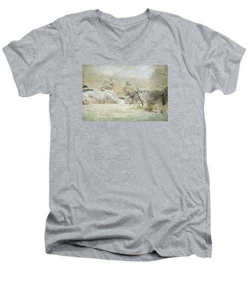 Winter Silence Men's V-Neck T-Shirt by Julie Palencia