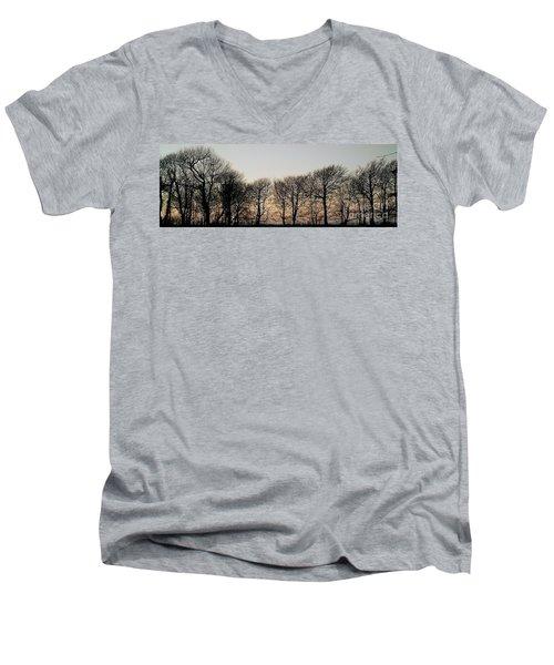 Winter Skyline Men's V-Neck T-Shirt by Richard Brookes