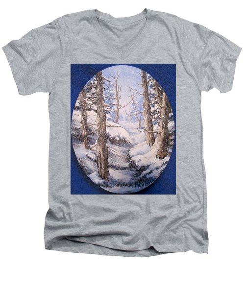 Men's V-Neck T-Shirt featuring the painting Winter Snow by Megan Walsh