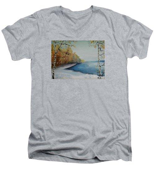 Winter Starts At Kymi River Men's V-Neck T-Shirt
