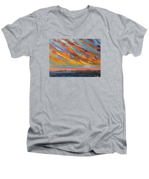 Winter Sunrise Over Provincetown Men's V-Neck T-Shirt by Michael Helfen