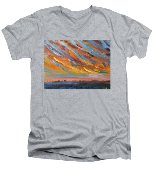 Winter Sunrise Over Provincetown Men's V-Neck T-Shirt