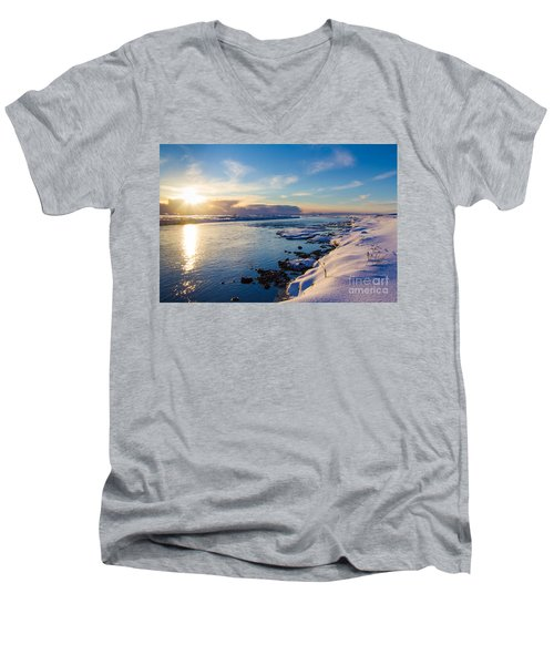 Men's V-Neck T-Shirt featuring the photograph Winter Sunset In Iceland by Peta Thames