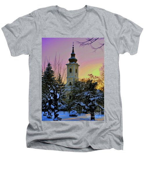 Winter Sunset Men's V-Neck T-Shirt by Nina Ficur Feenan