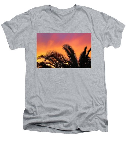 Men's V-Neck T-Shirt featuring the photograph Winter Sunset by Tammy Espino