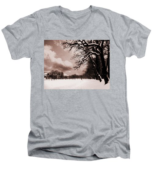 Men's V-Neck T-Shirt featuring the photograph Winter Tale by Nina Ficur Feenan