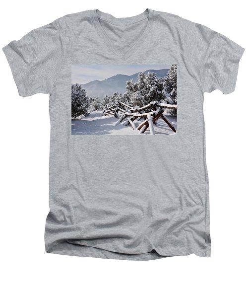 Winter Trail Beckons Men's V-Neck T-Shirt by Diane Alexander