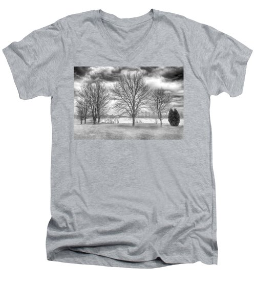 Men's V-Neck T-Shirt featuring the photograph Winter Trees by Howard Salmon