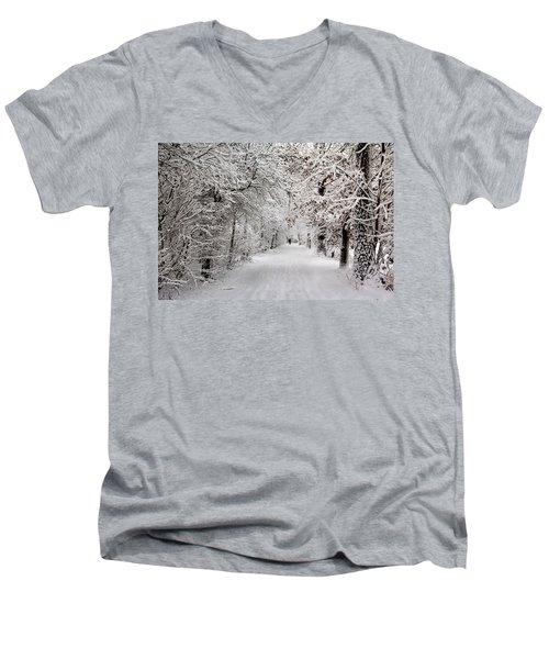 Winter Walk In Fairytale  Men's V-Neck T-Shirt