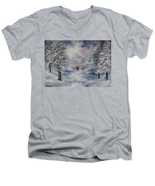 Men's V-Neck T-Shirt featuring the painting Winter Walk On Cannock Chase by Jean Walker
