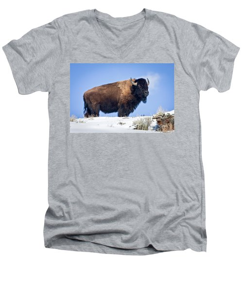 Men's V-Neck T-Shirt featuring the photograph Winter Warrior by Jack Bell
