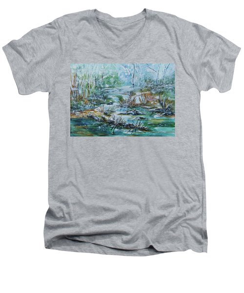 Men's V-Neck T-Shirt featuring the painting Winter Whispers On Catskill Creek by Ellen Levinson