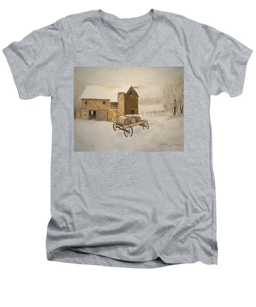 Men's V-Neck T-Shirt featuring the painting Winter Wine by Alan Lakin