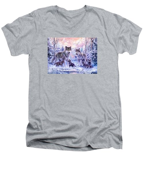 Winter Wolf Family  Men's V-Neck T-Shirt by Jan Patrik Krasny