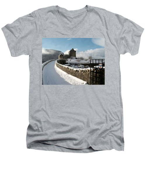 Winter Wonder Walkway Men's V-Neck T-Shirt by Bruce Nutting