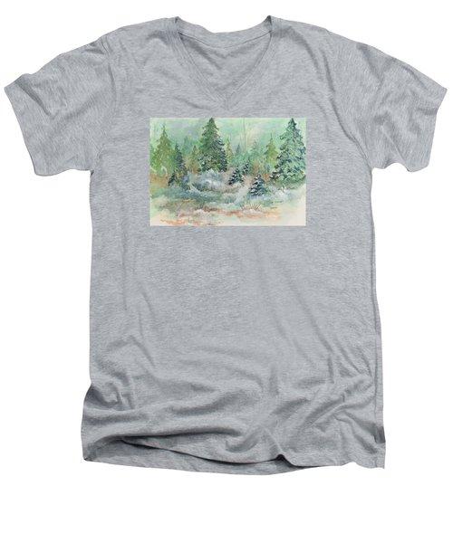 Winter Wonderland Men's V-Neck T-Shirt by Lee Beuther