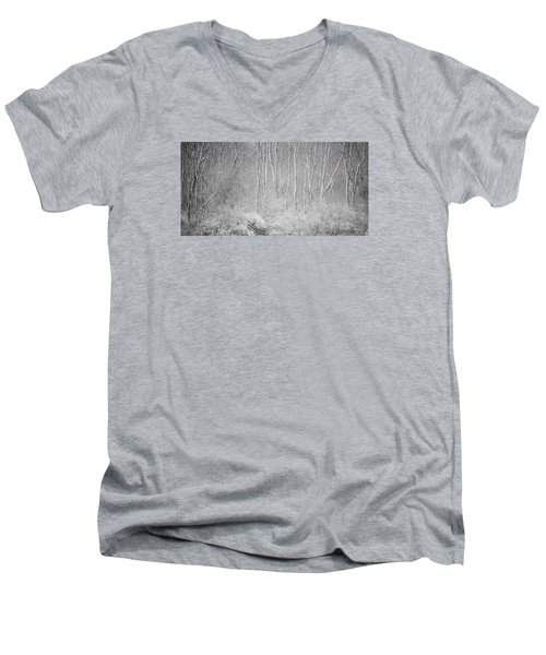 Men's V-Neck T-Shirt featuring the photograph Winter Wood 2013 by Joan Davis