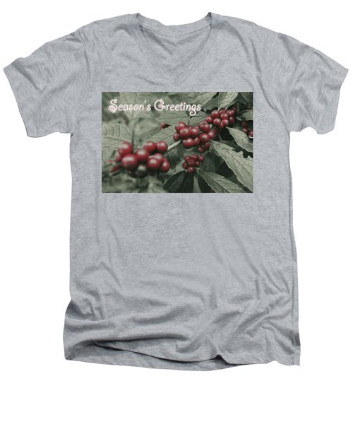 Men's V-Neck T-Shirt featuring the photograph Winterberry Greetings by Photographic Arts And Design Studio