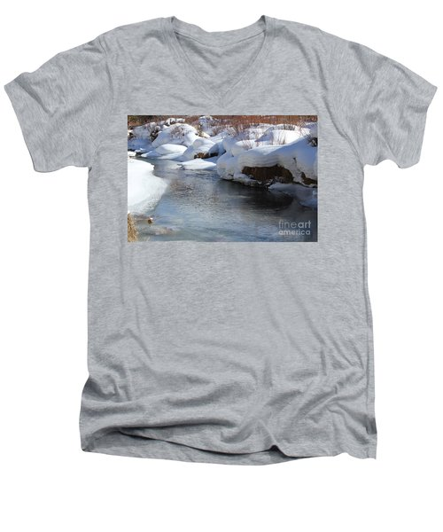 Men's V-Neck T-Shirt featuring the photograph Winter's Blanket by Fiona Kennard