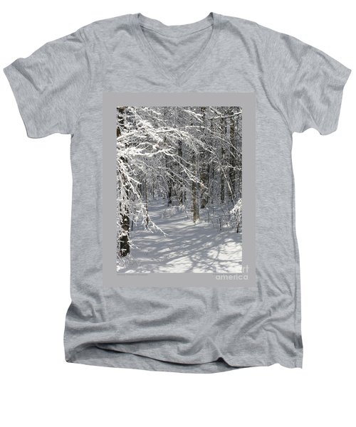 Men's V-Neck T-Shirt featuring the photograph Wintery Woodland Shadows by Patricia Overmoyer