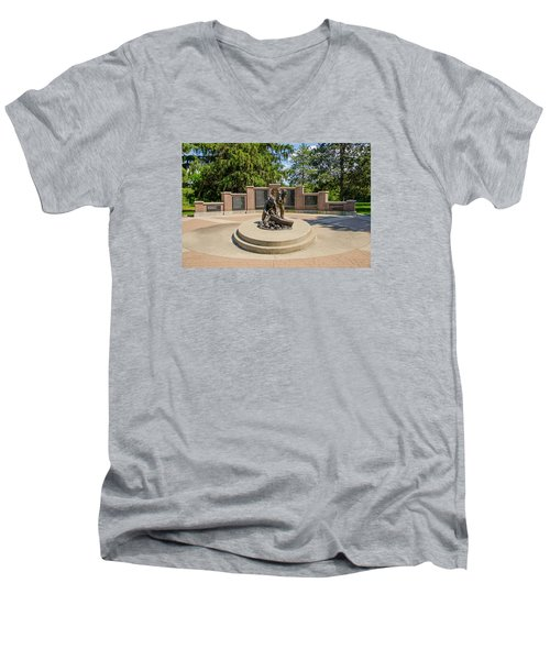 Men's V-Neck T-Shirt featuring the photograph Wisconsin State Firefighters Memorial 1 by Susan  McMenamin