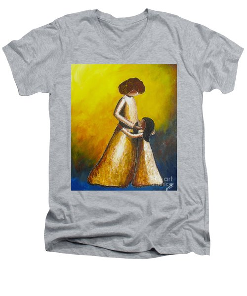 Men's V-Neck T-Shirt featuring the painting With Her by Jacqueline Athmann