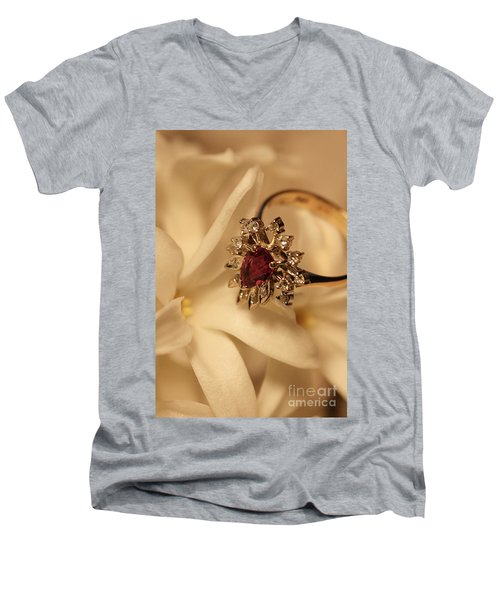 Men's V-Neck T-Shirt featuring the photograph With Love by Joy Watson