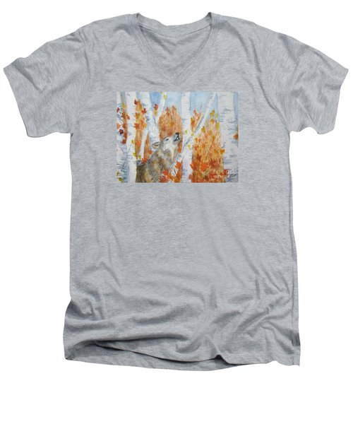 Men's V-Neck T-Shirt featuring the painting Wolf Call by Ellen Levinson