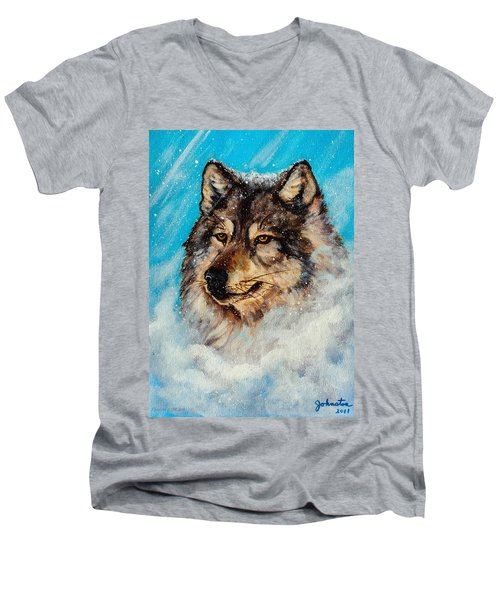 Men's V-Neck T-Shirt featuring the painting Wolf In A Snow Storm by Bob and Nadine Johnston