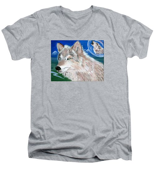 Men's V-Neck T-Shirt featuring the painting Wolves by Phyllis Kaltenbach