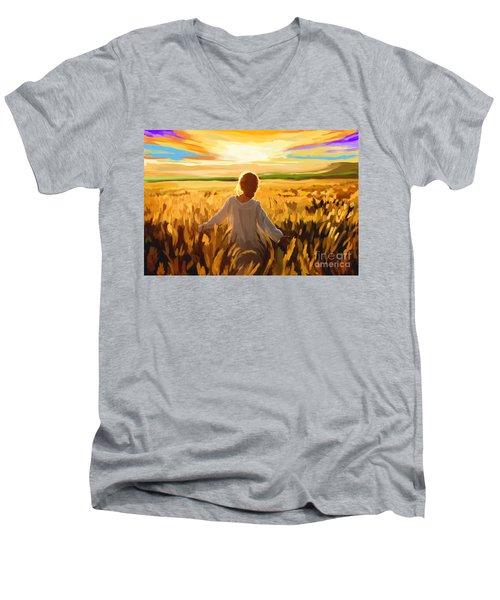 Woman In A Wheat Field Men's V-Neck T-Shirt