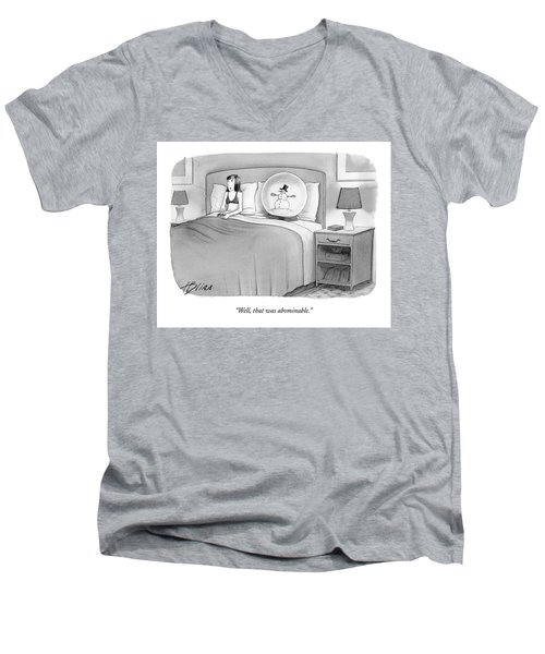 Woman In Bed With A Huge Snow-globe Men's V-Neck T-Shirt