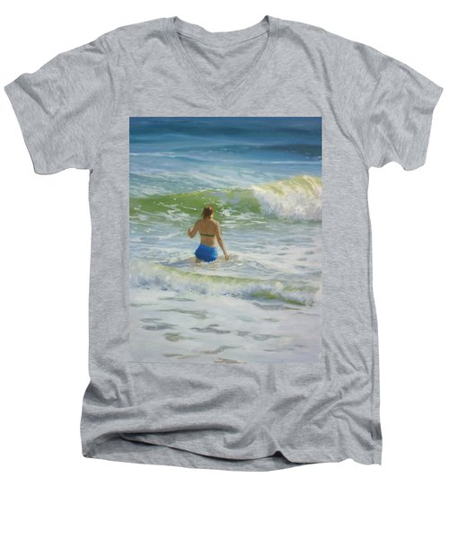 Woman In The Waves Men's V-Neck T-Shirt