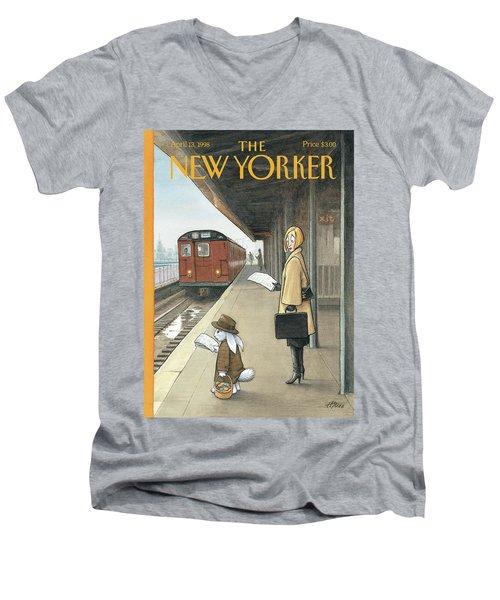 Woman On Train Platform Looking At Easter Bunny Men's V-Neck T-Shirt