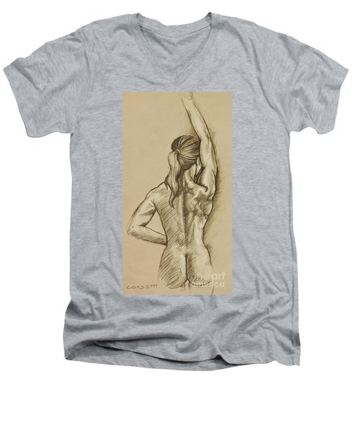 Men's V-Neck T-Shirt featuring the drawing Woman Sketch by Rob Corsetti
