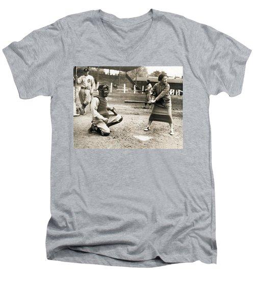 Woman Tennis Star At Bat Men's V-Neck T-Shirt