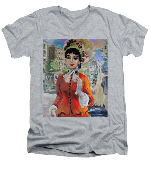 Woman With Parasol In Paris Men's V-Neck T-Shirt by Karon Melillo DeVega